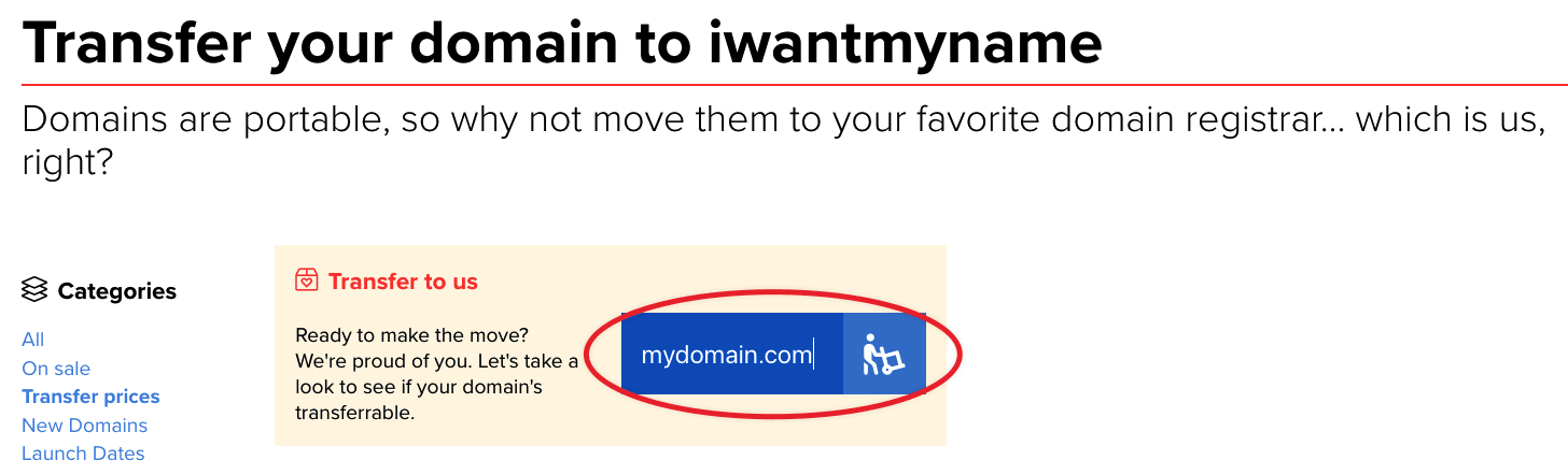 iwantmyname transfer page - enter domain