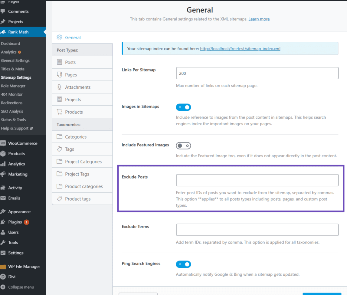 Exclude Page from Sitemap