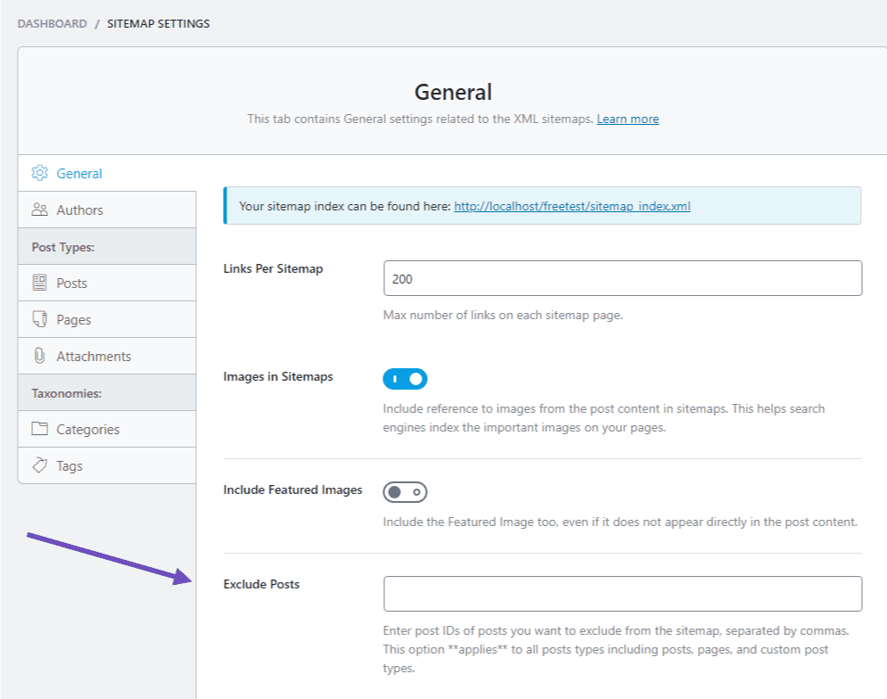 Exclude Post Page Sitemap