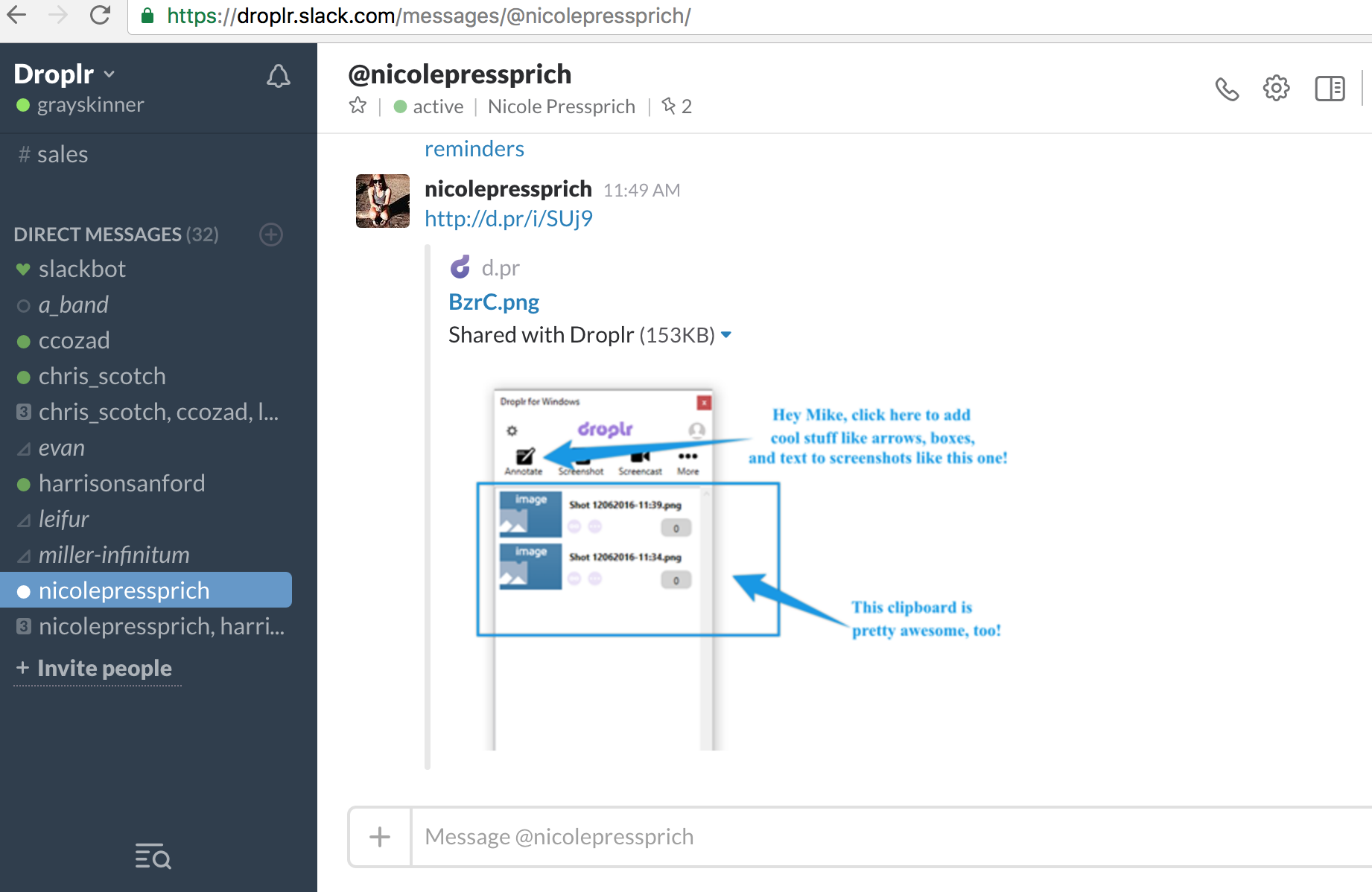 slack conversation with droplr screenshot of native app view