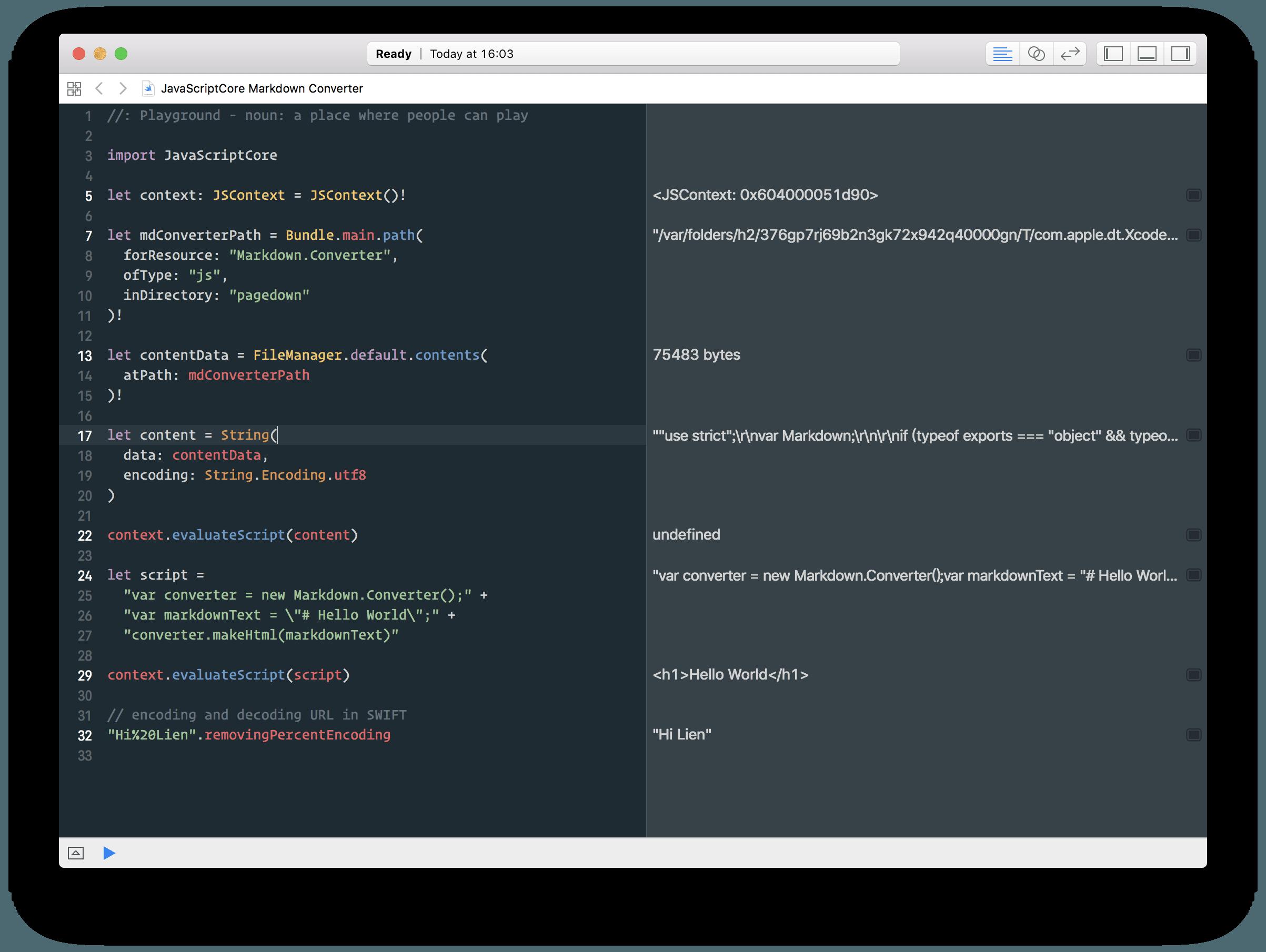 通过 JavaScriptCore 将 Markdown 转换成 HTML