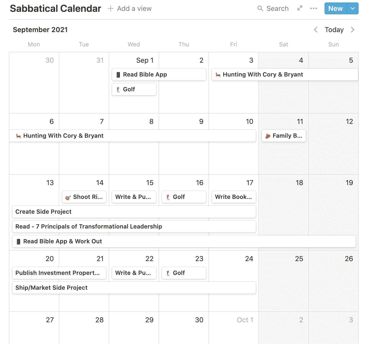 Notion calendar of my time off.