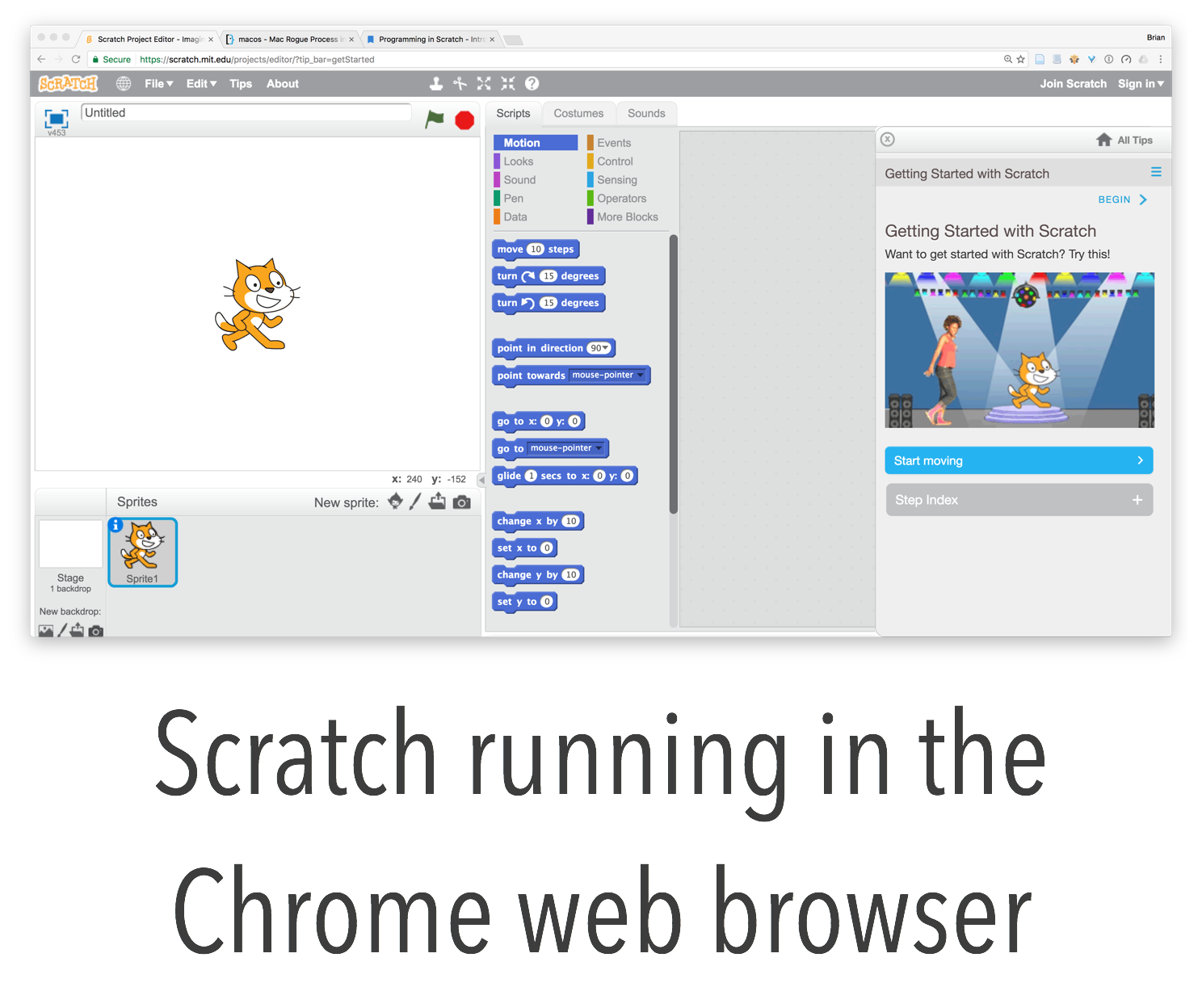 Scratch Running in Google's Chrome Web Browser