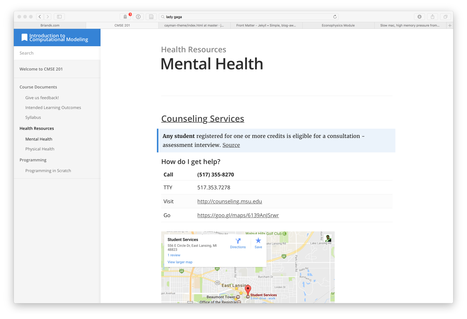 image of the course webpage on mental health, with contact info and a map to counseling services