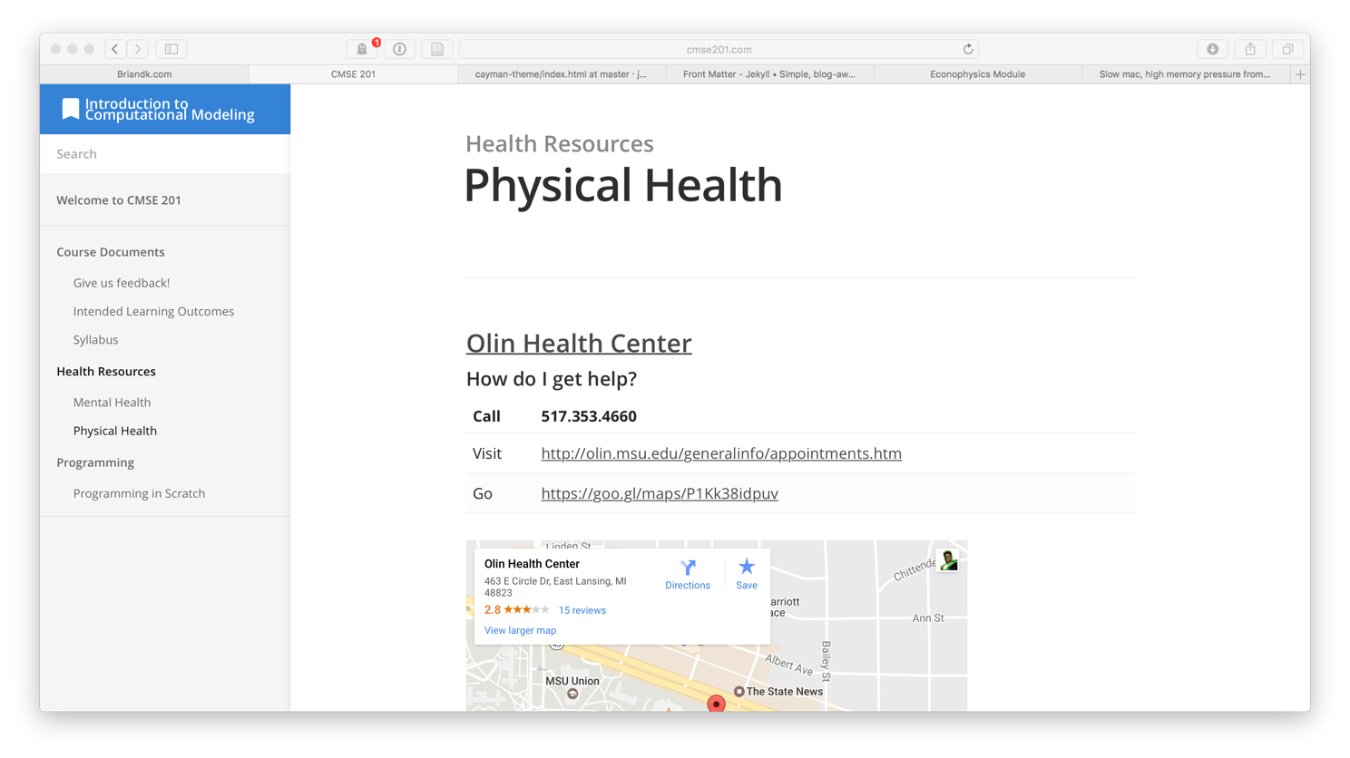 image of the cmse201.com website's Physical Health page, where students can see the contact info, address, and map to the student health center
