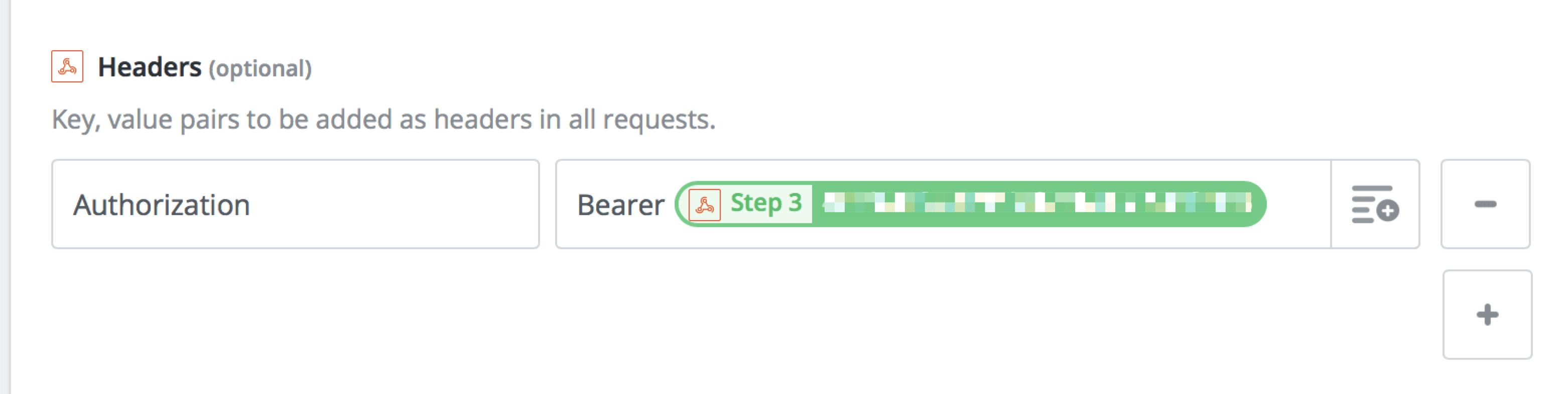 "In Zapier Webhooks Headers, set ""Authorization"" to ""Bearer {Step 3}"""