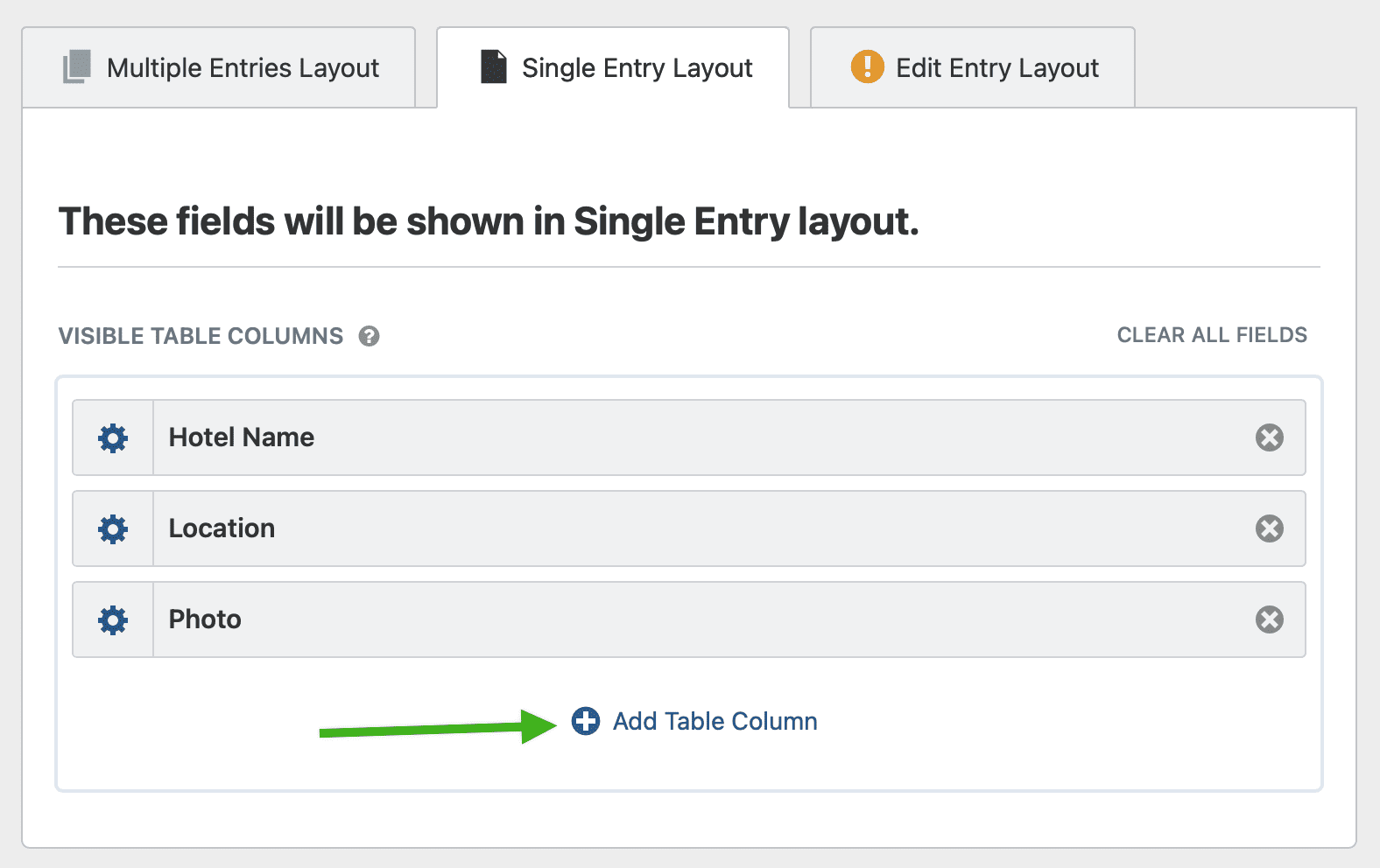 Clicking the Add Field button for a Single Entry View