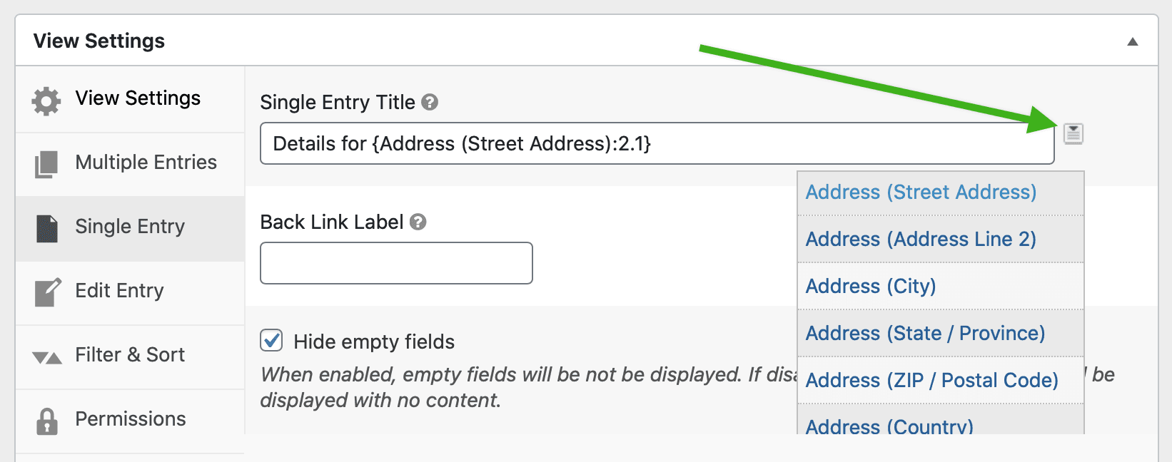 Screenshot of clicking a Merge Tag icon next to the Single Entry Title input