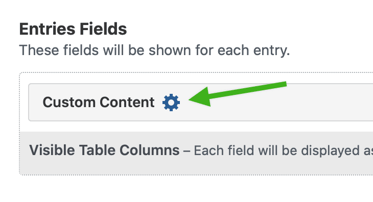 A Custom Content field placeholder, with a gear icon visible.