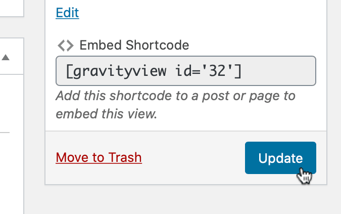 Screenshot of the Update button in WordPress