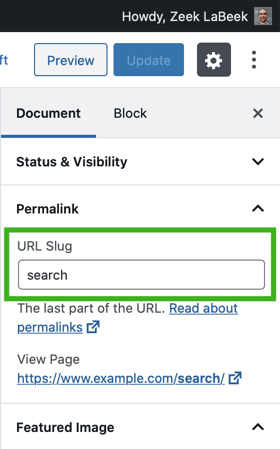 In Edit Post, Document settings 'Permalink' section, showing the 'URL Slug'