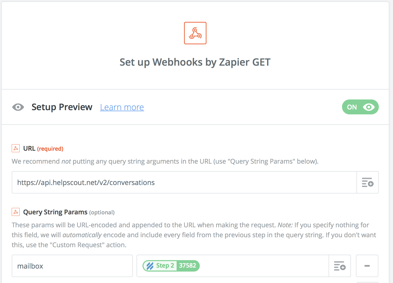 Conversations API with a Zapier Webhook action