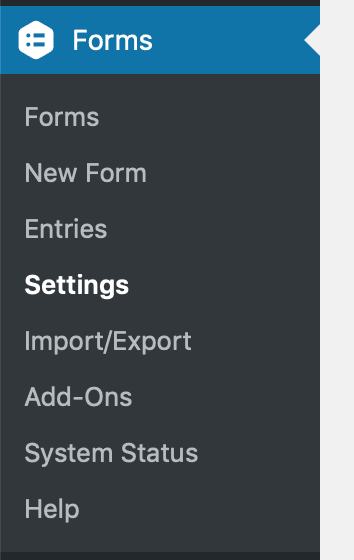The WordPress sidebar menu with a Forms top-level menu, with the Settings link highlighted.