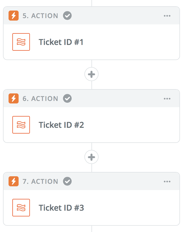 Three Zapier Formatter actions for three random IDs