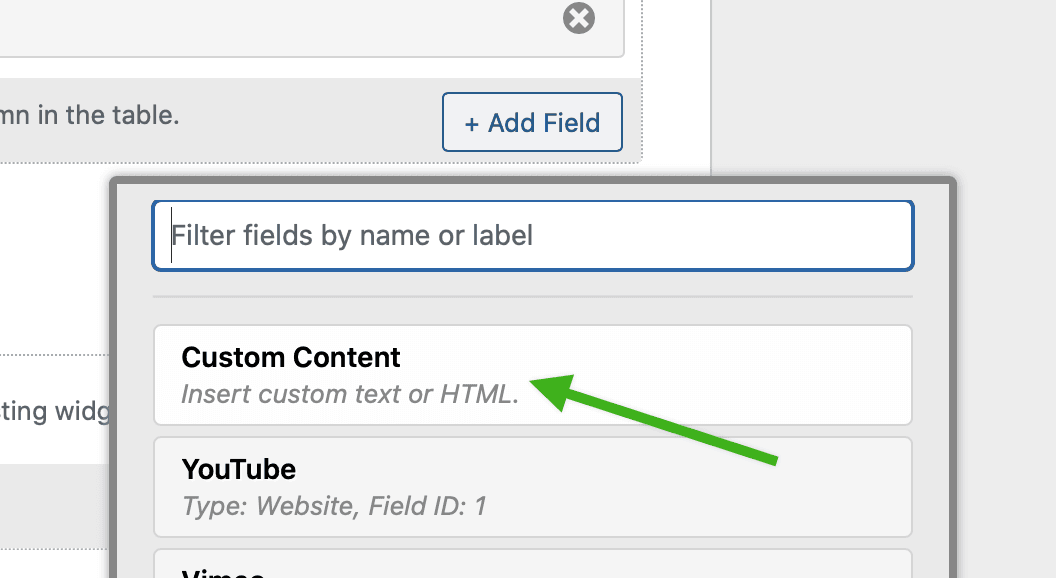 Screenshot of Add View button