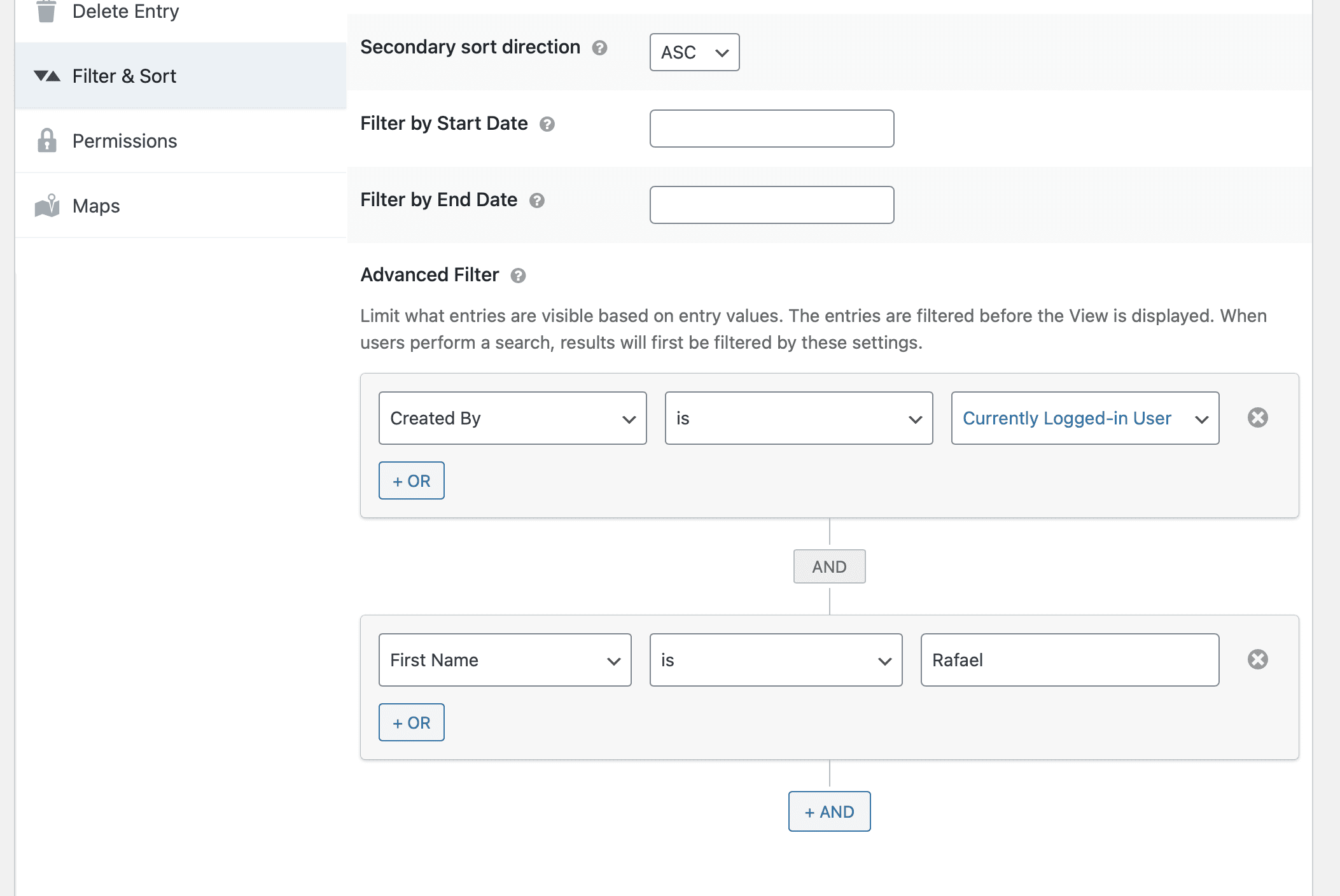 Screenshot of Advanced Filter extension filters filtering by logged-in status and the first name of a field.