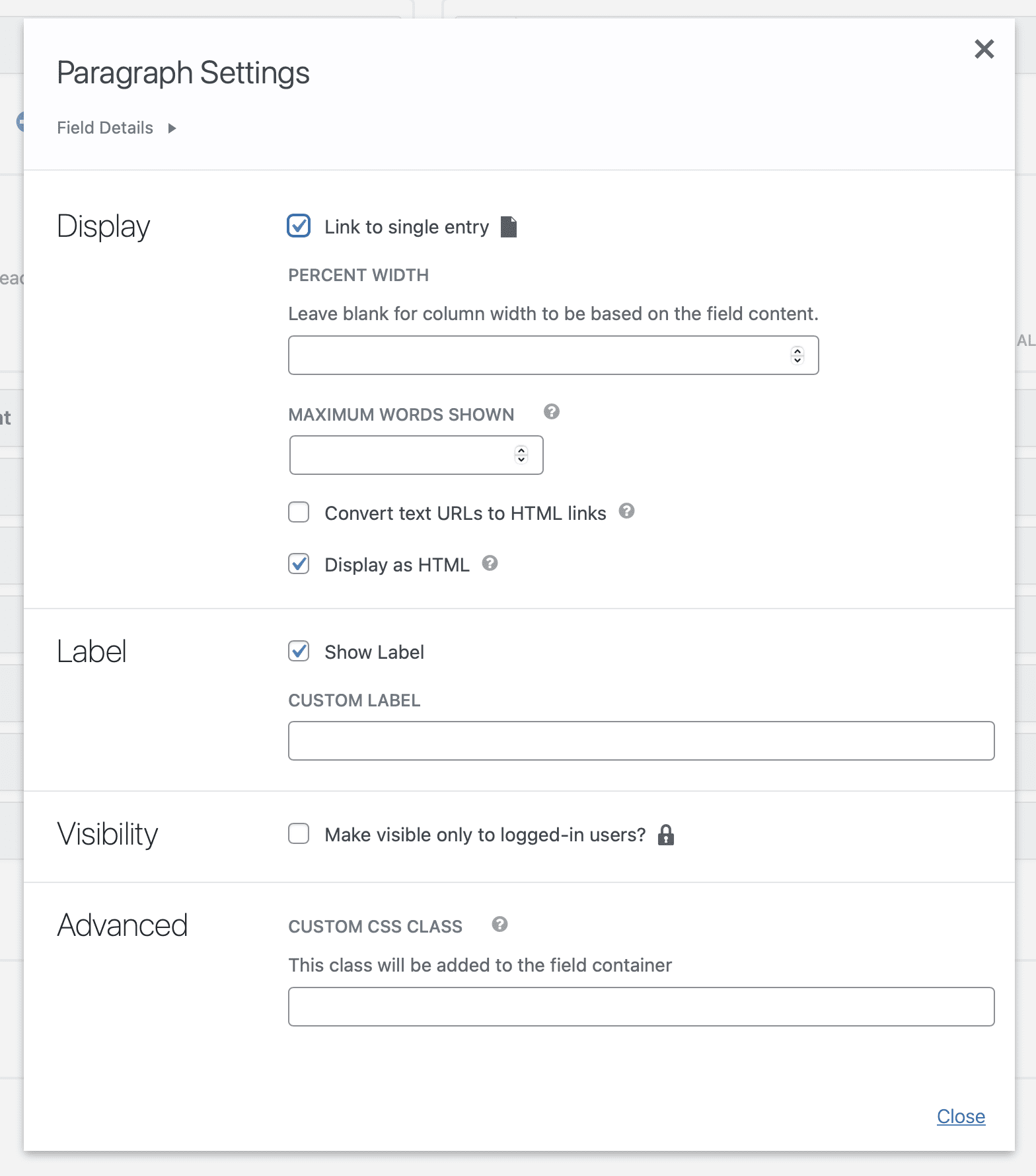 The Field Settings window, showing how settings are now grouped into appropriate categories