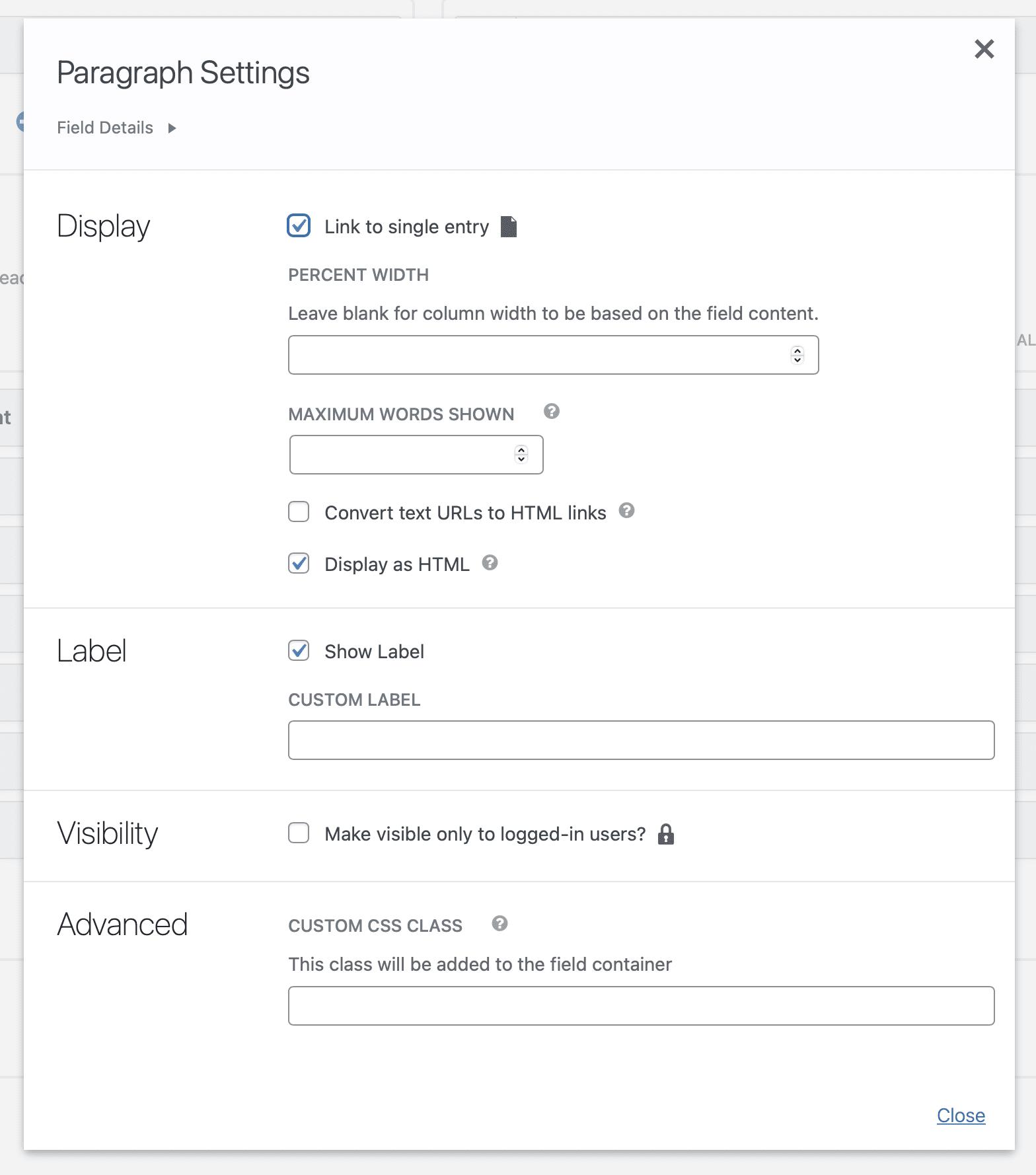 Field settings screenshot