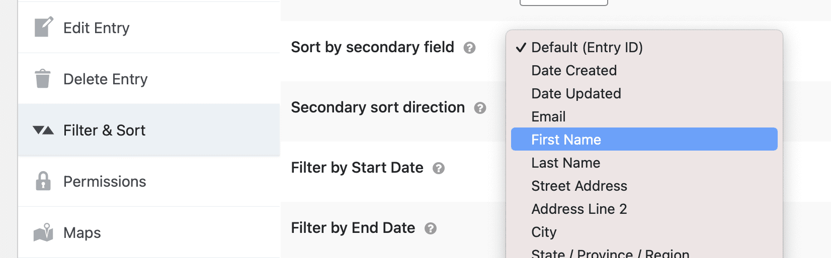 Screenshot of the Settings metabox with 'Sort by secondary field' selected.