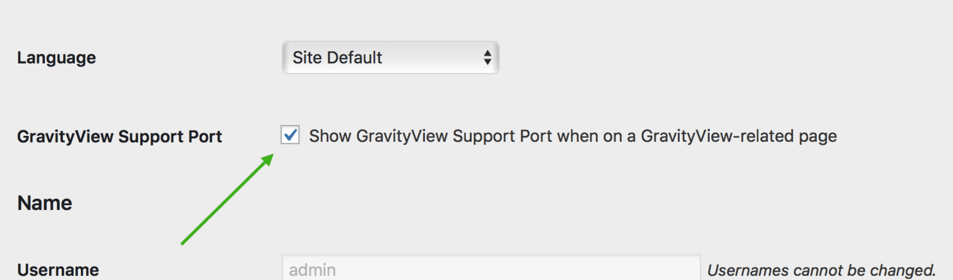 GravityView Support Port setting in the WordPress User Profile screen