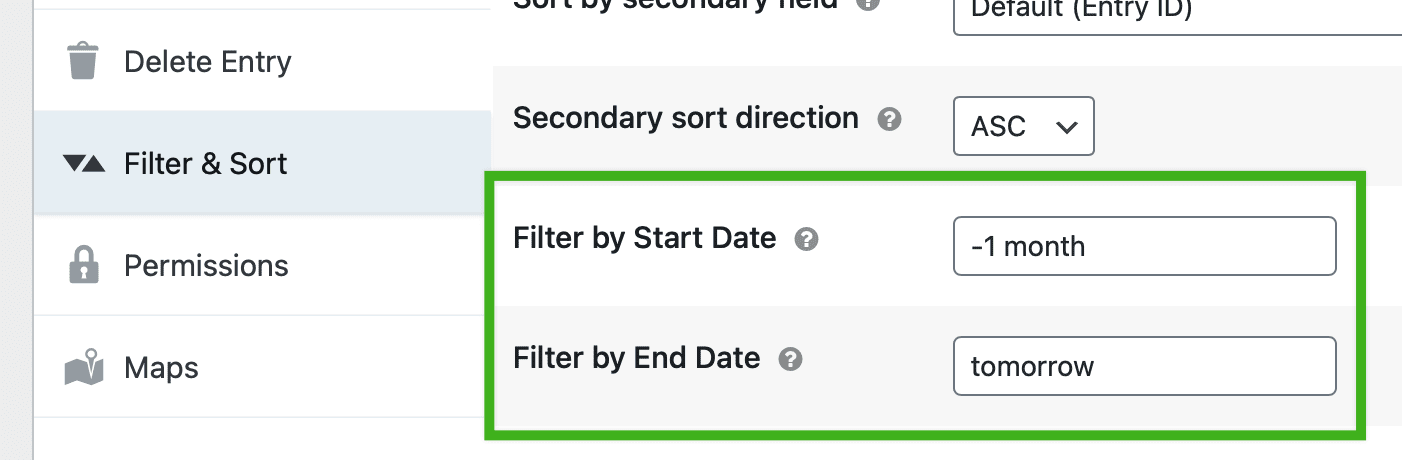Screenshot of the Start Date and End Date settings