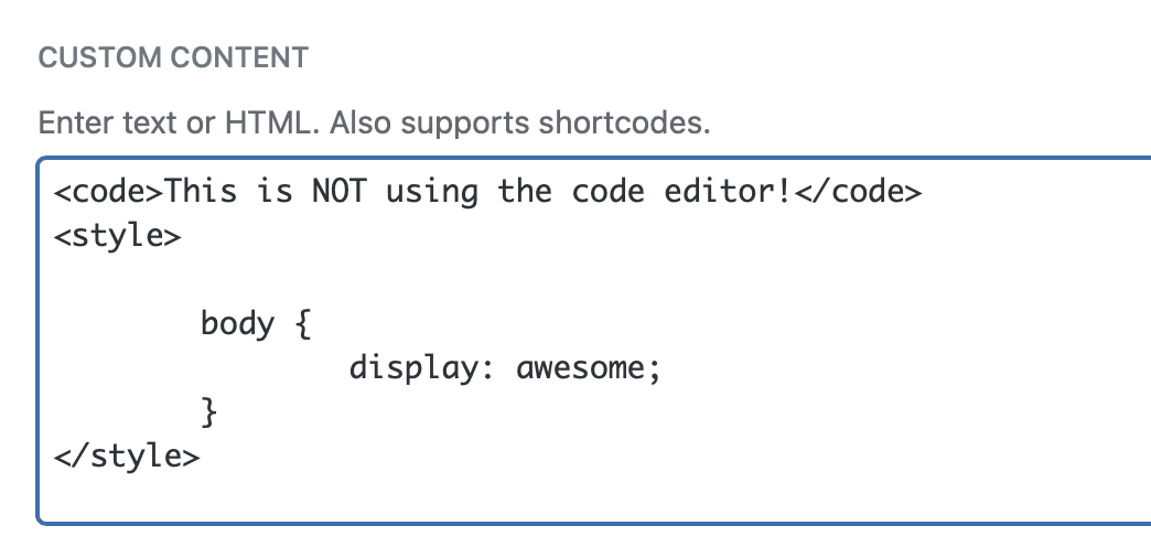 Custom Content field with code editor inactive