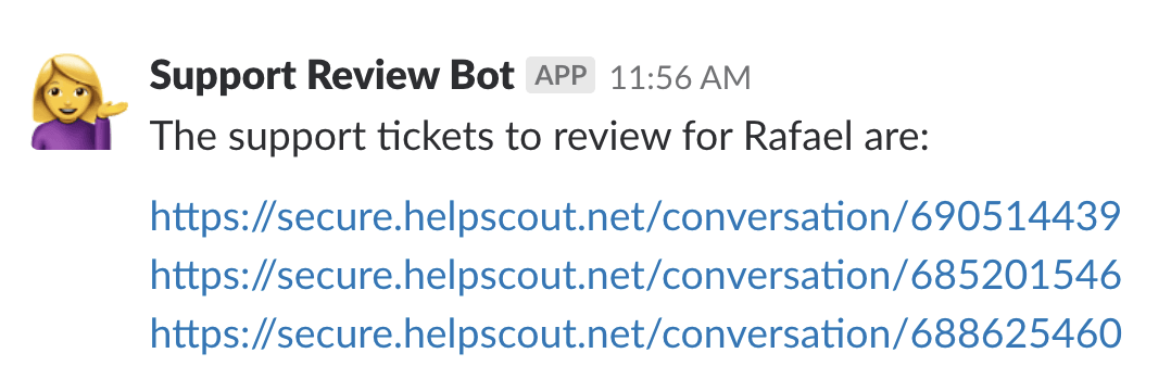 Screenshot of Slack bot linking to the conversations