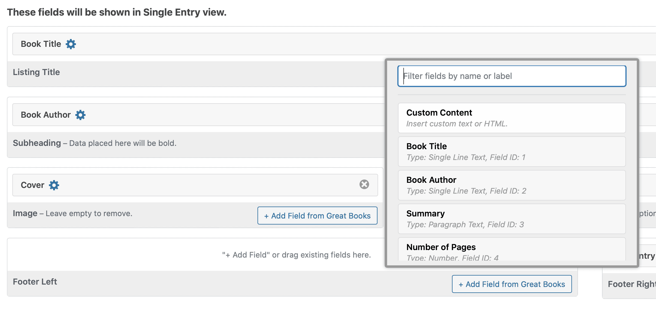 Screenshot of the Add Field picker in GravityView, with Custom Content highlighted