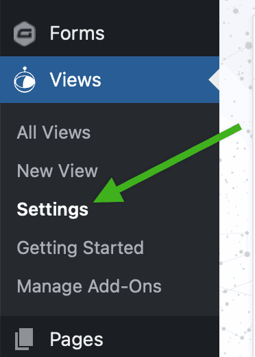 Screenshot of the sidebar menu in the WordPress dashboard with Views menu open and arrow pointing to Settings link.