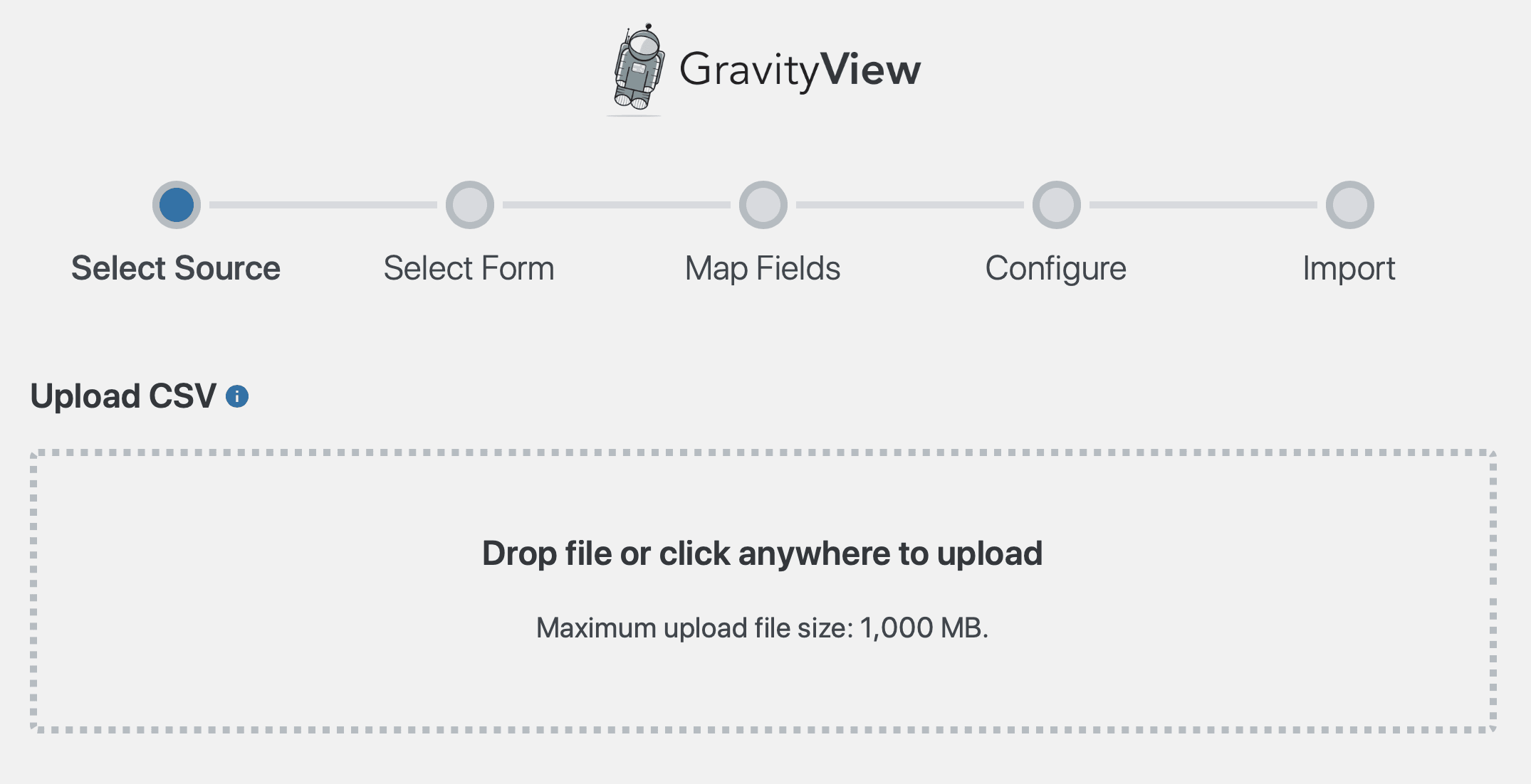 Screenshot showing the Gravity Forms CSV import process, with a drop zone to upload spreadsheets.