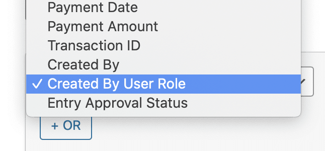 Select 'Created By User Role' from the form field dropdown