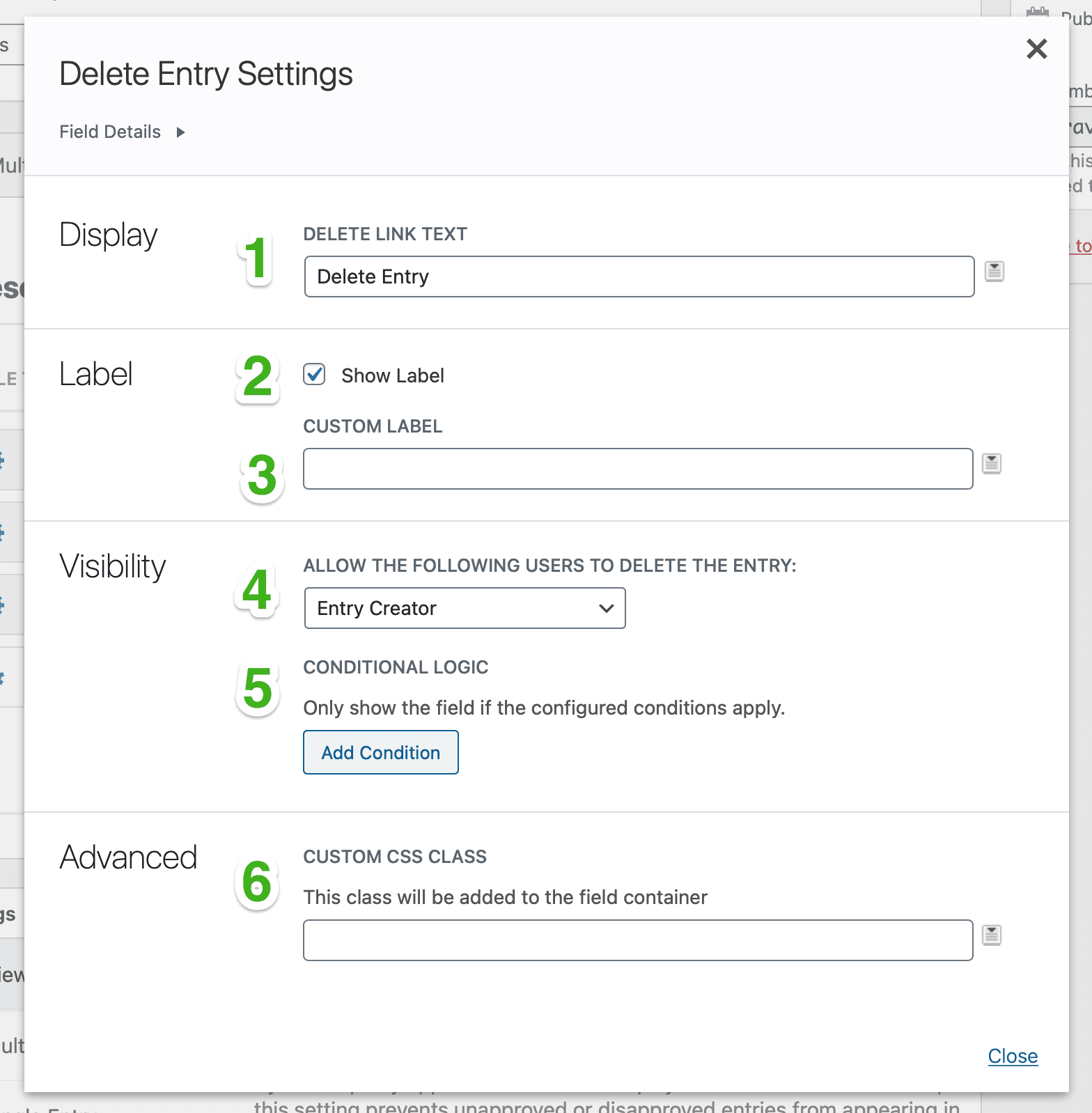 Delete Entry field settings with numbers placed over each of the settings