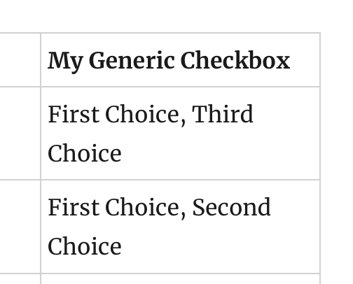 Screenshot of a bulleted list with 'first choice, third choice' as a single text item.
