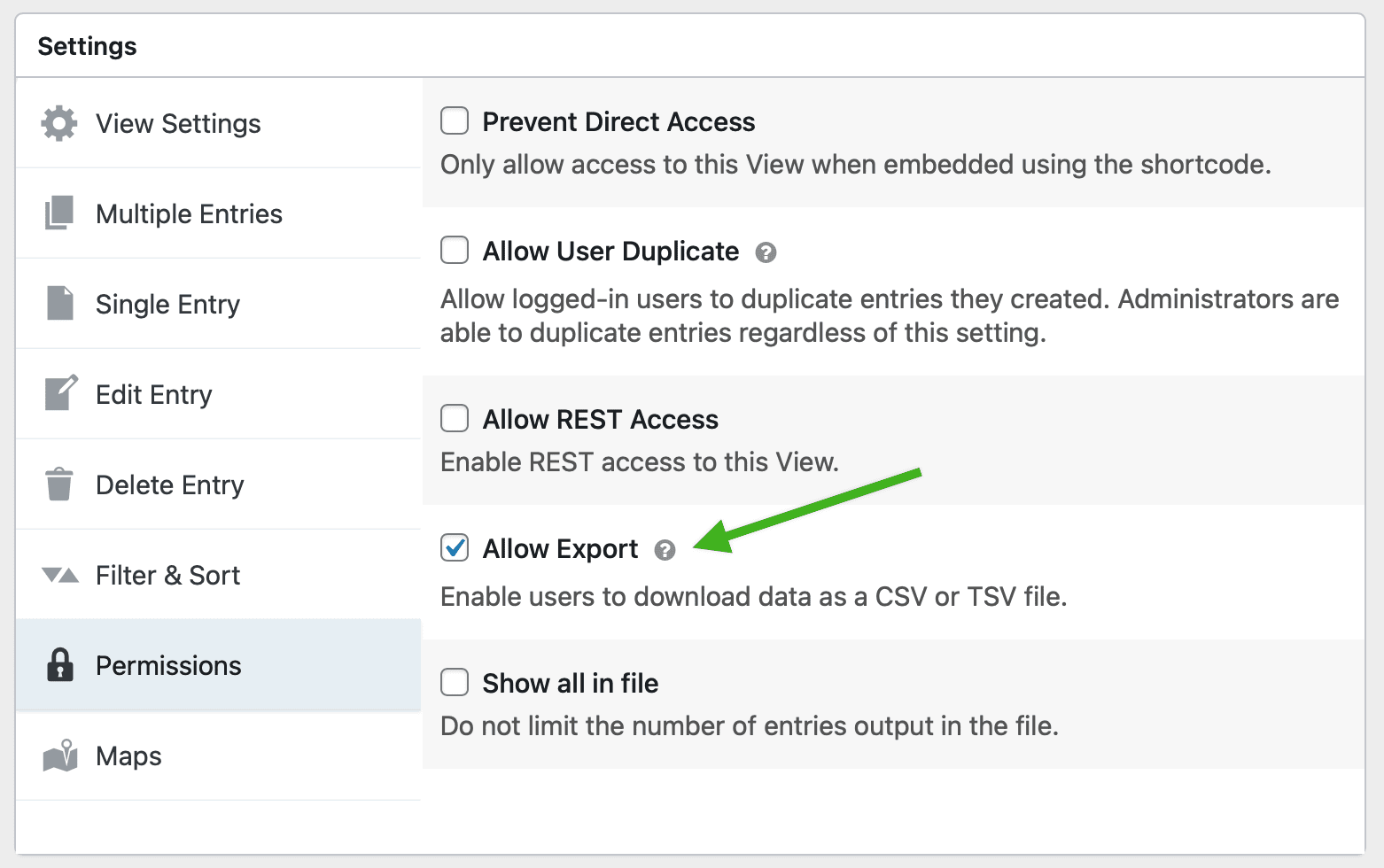 Screenshot of the Permissions tab with an arrow pointing to Allow CSV Access