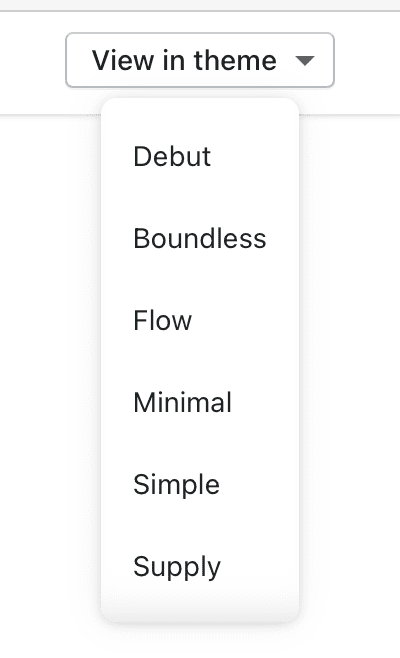 The 'View in theme' menu showing each theme that tabs are enabled in