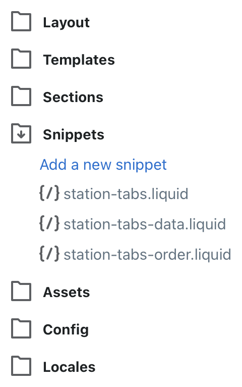 The snippet files used for storing tab data