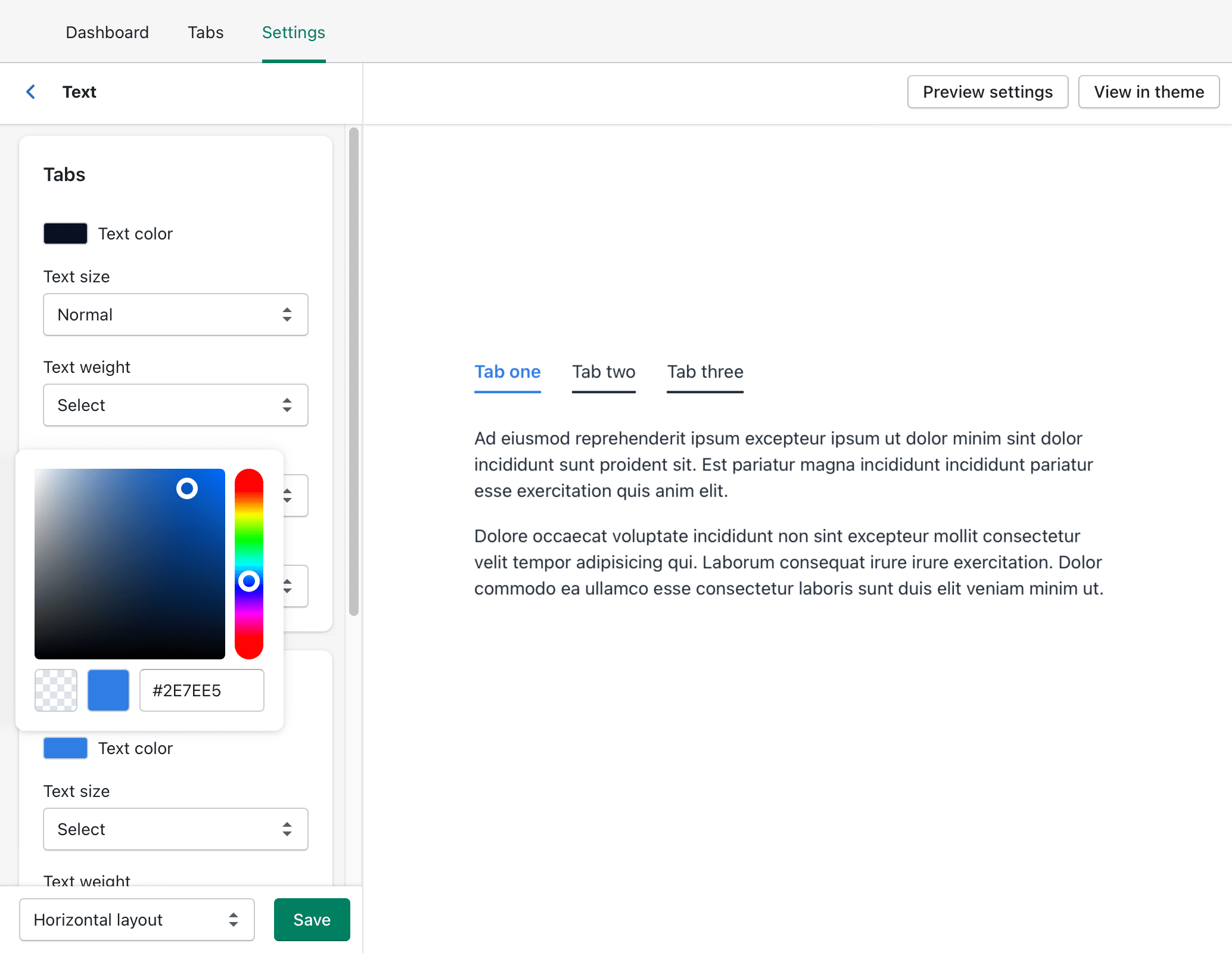 The 'Text color' for the 'Open tabs' being set with the style               settings