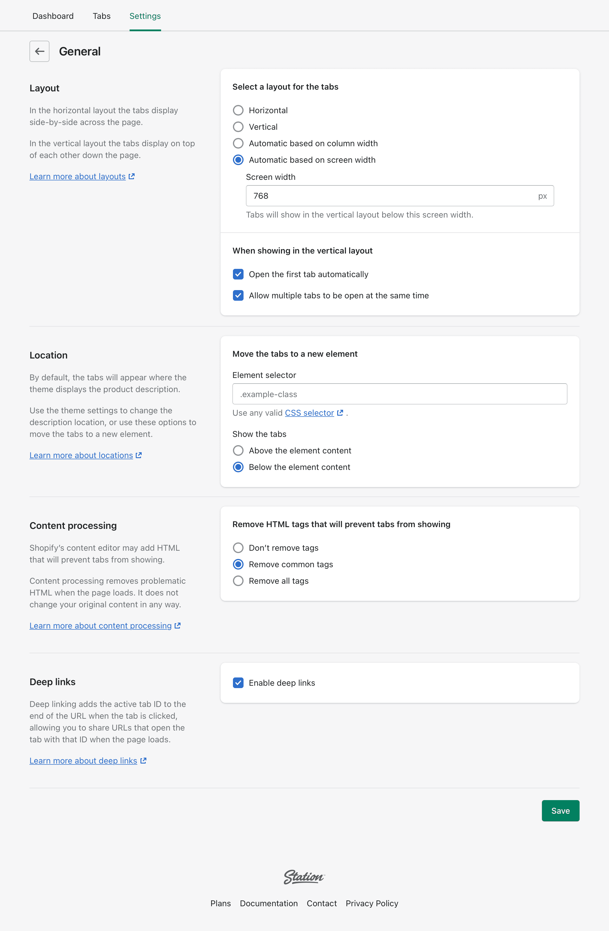 The 'General' settings page