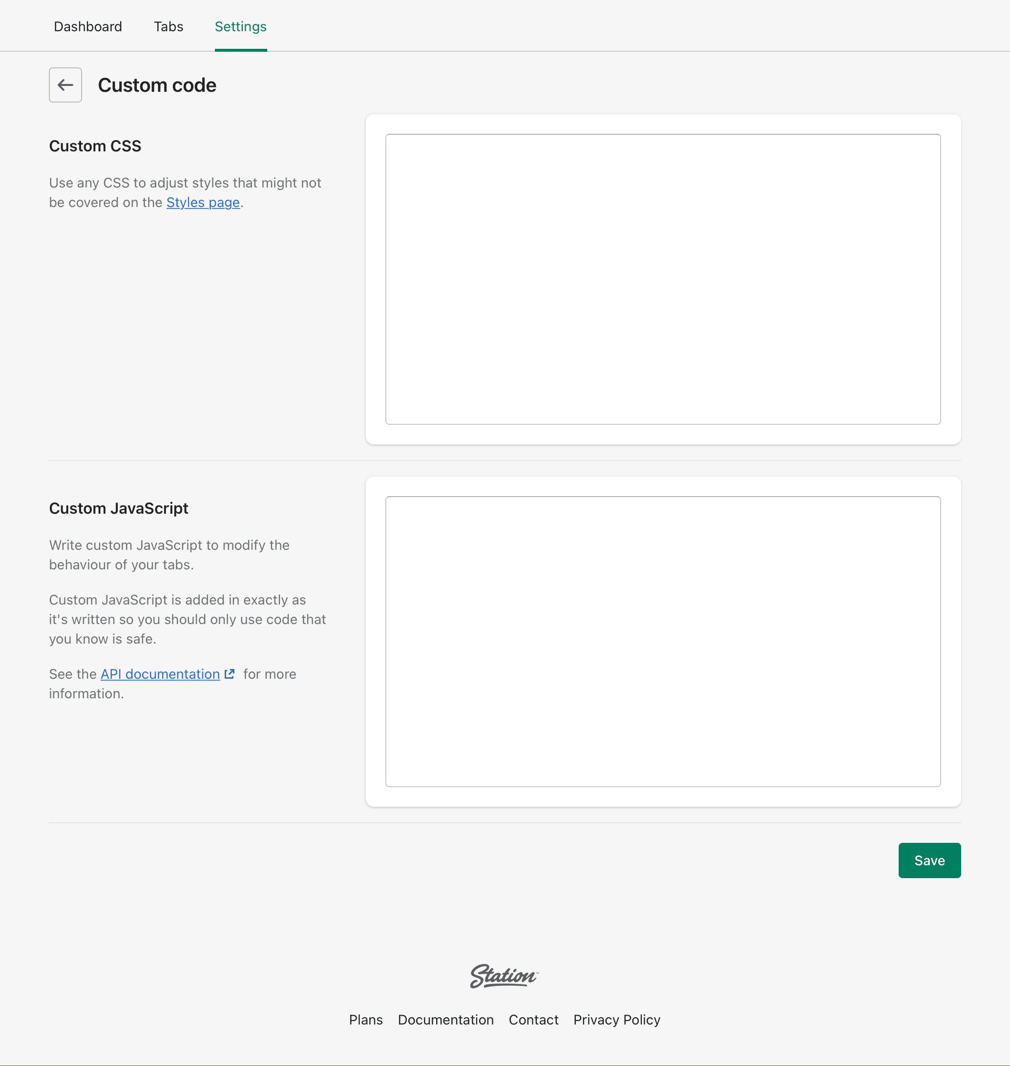 The 'Custom code' settings page