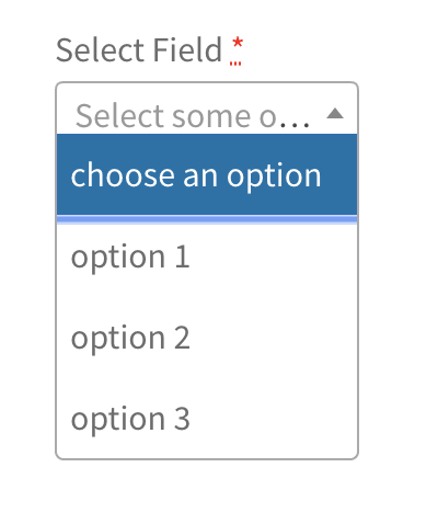 Select field placeholder
