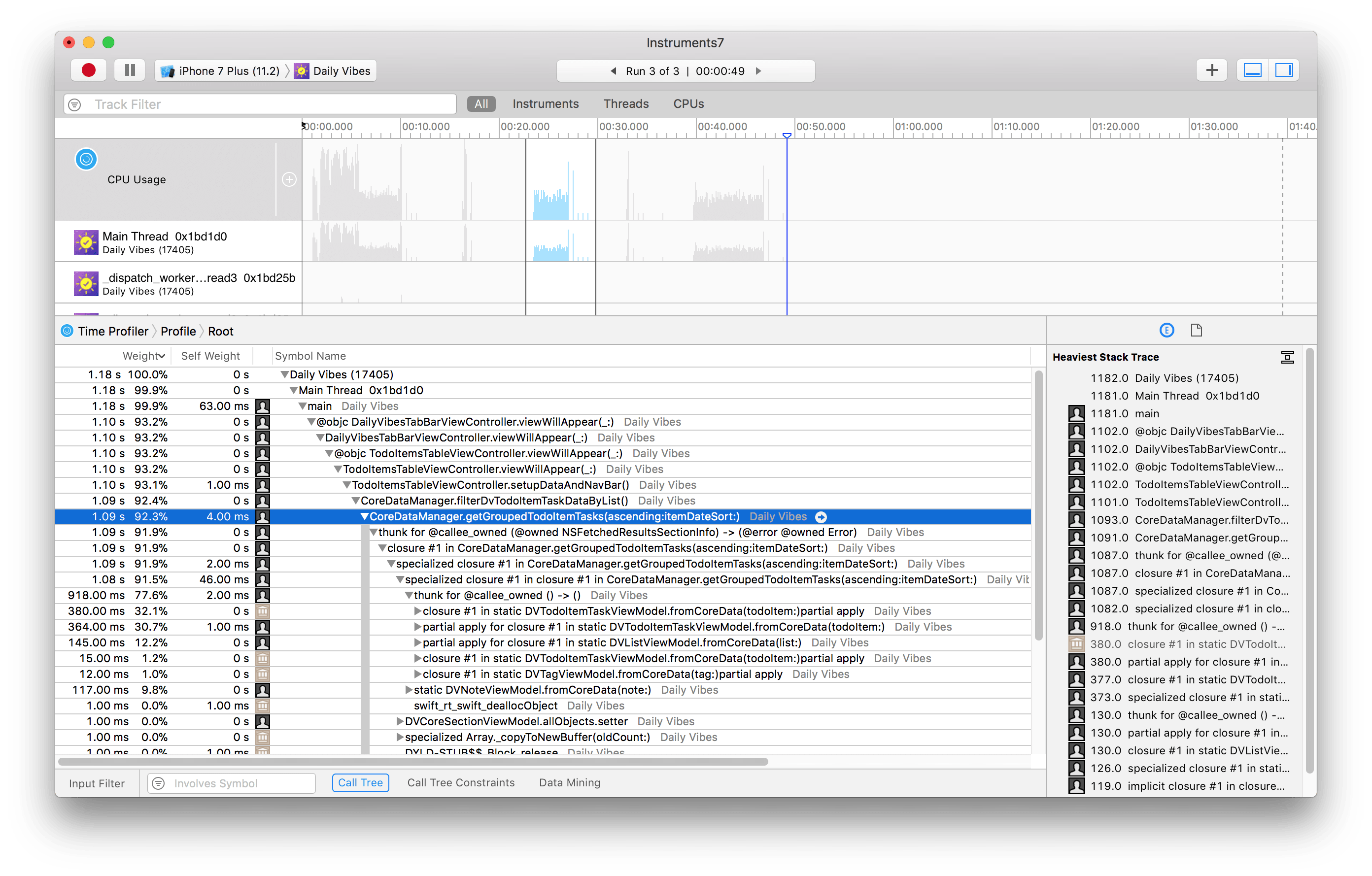 Example of Time Profiler in Xcode