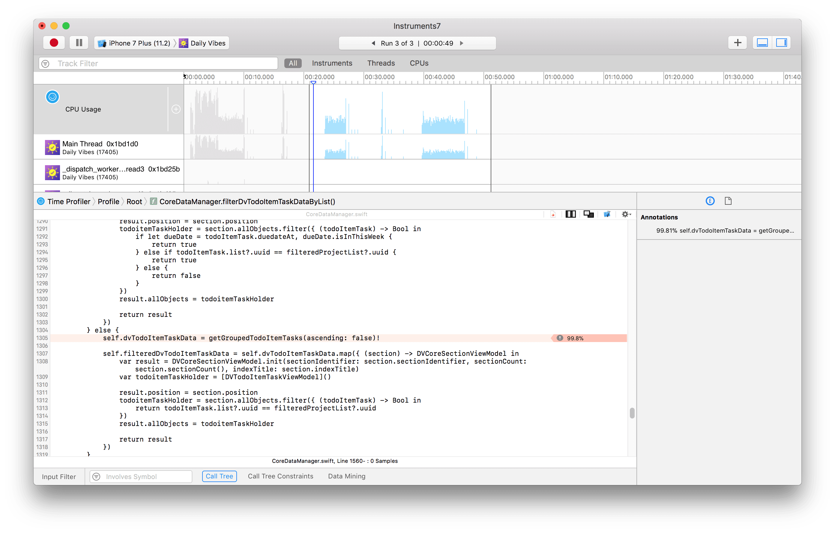 Double clicking on a method in Time Profiler in Xcode