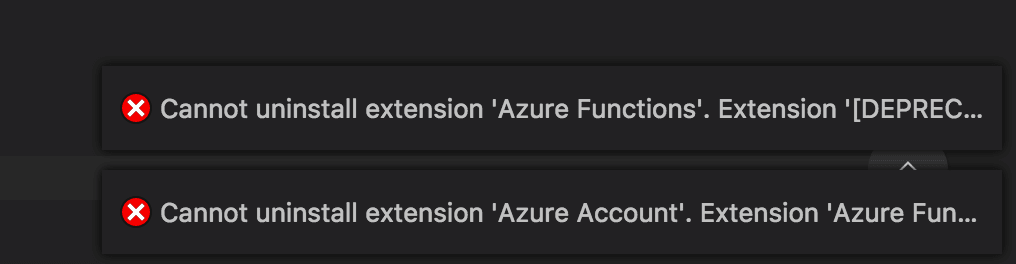 I can't uninstall or deactivate VS Code's Azure extensions either.