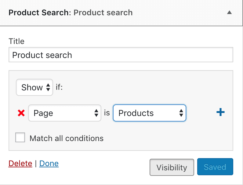 Widget settings showing Products selected from Jetpack visibility options