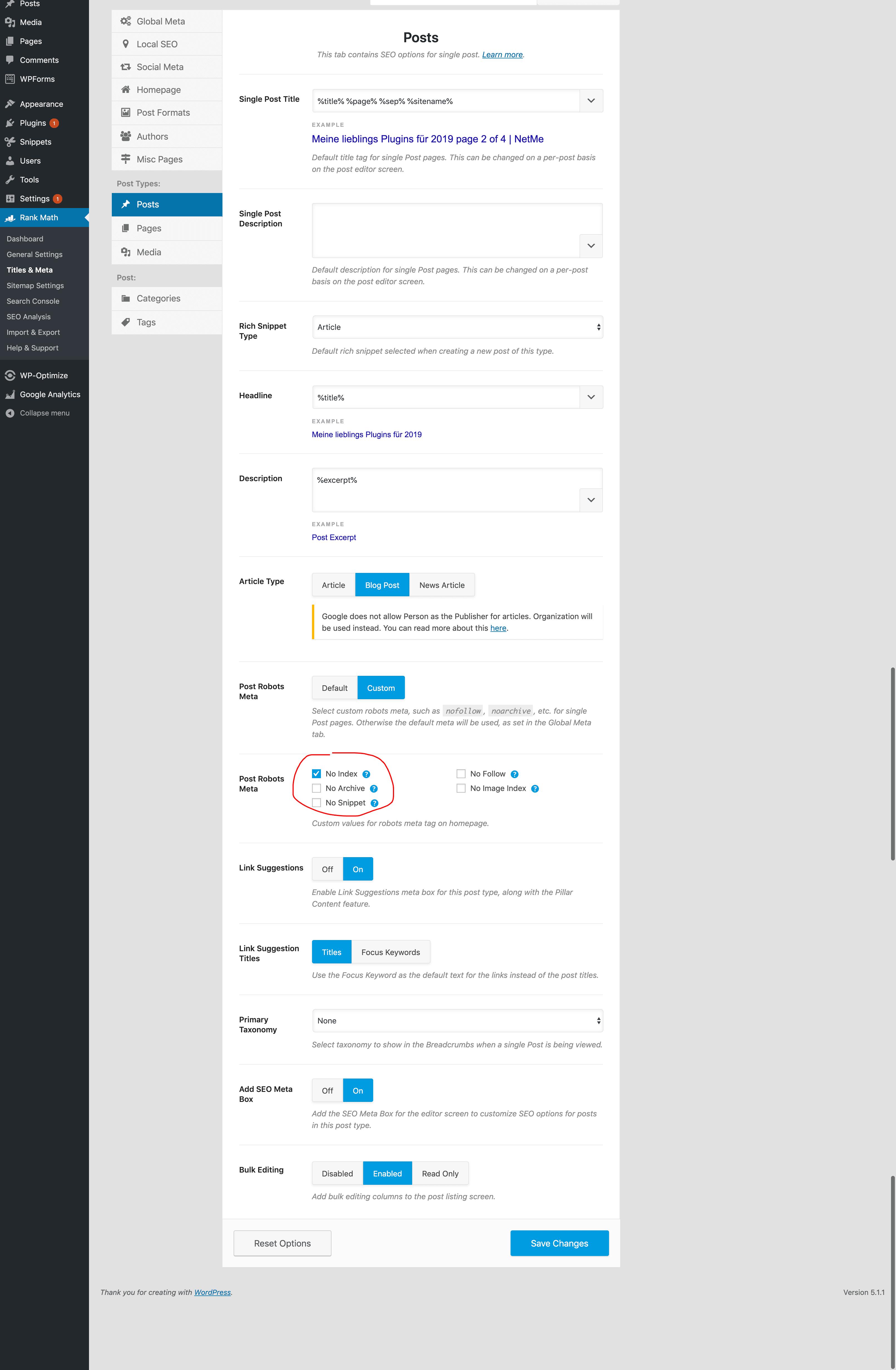noindex posts