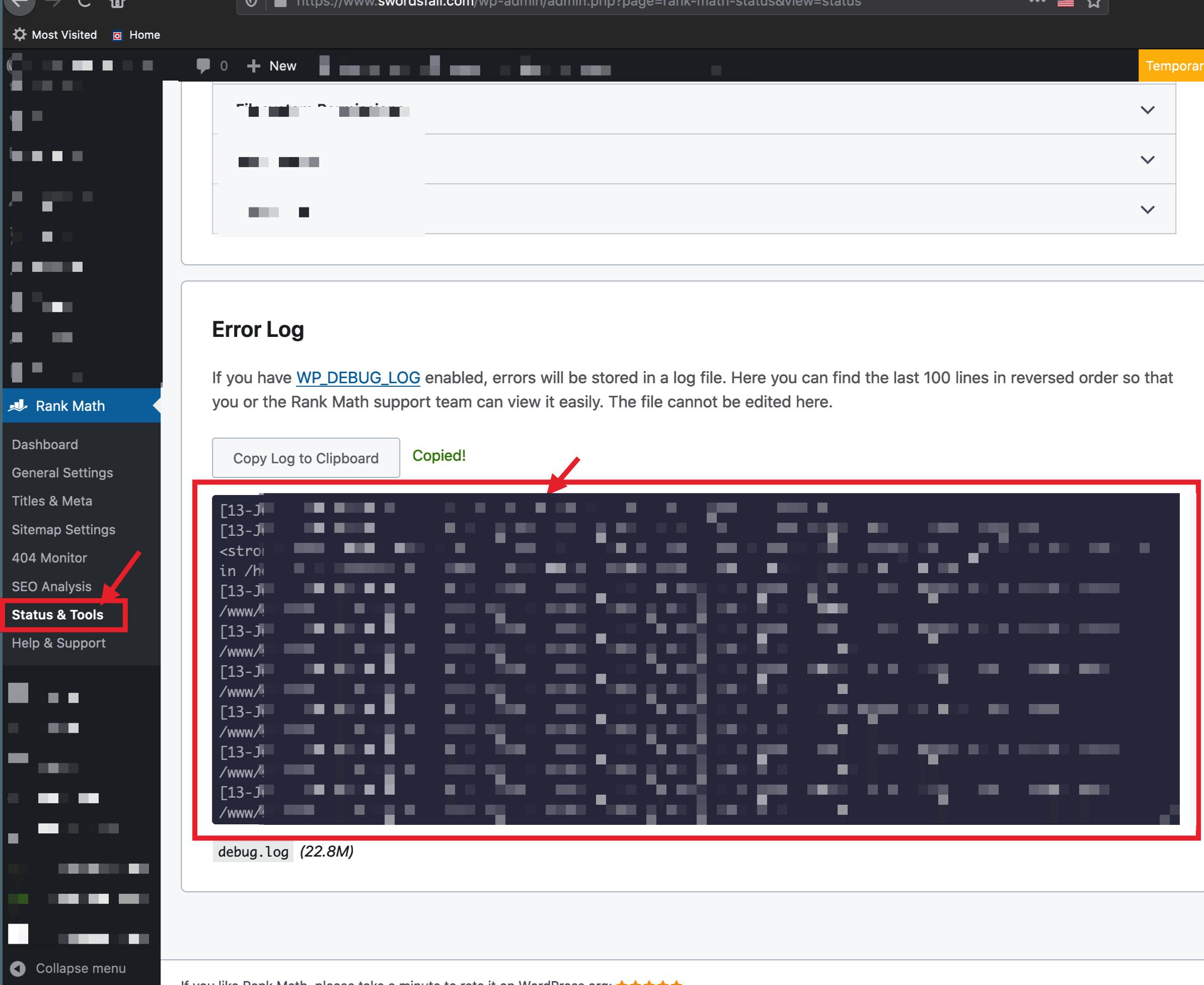 errors inside Rank Math & WordPress debug log