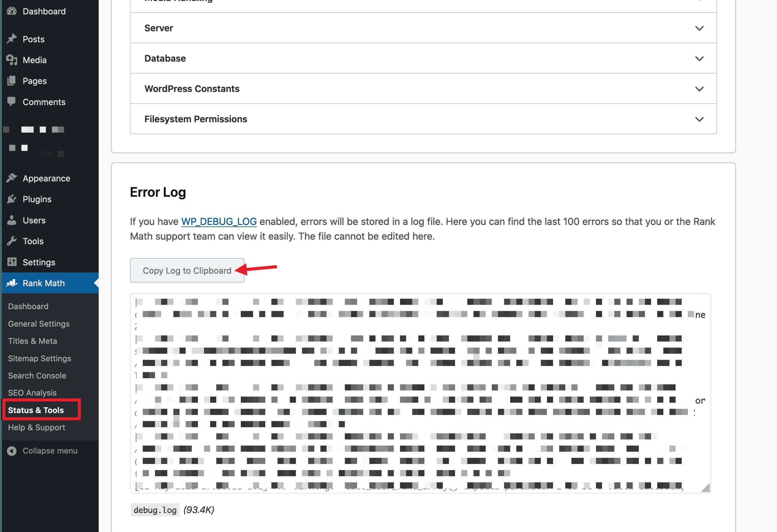 copy error log