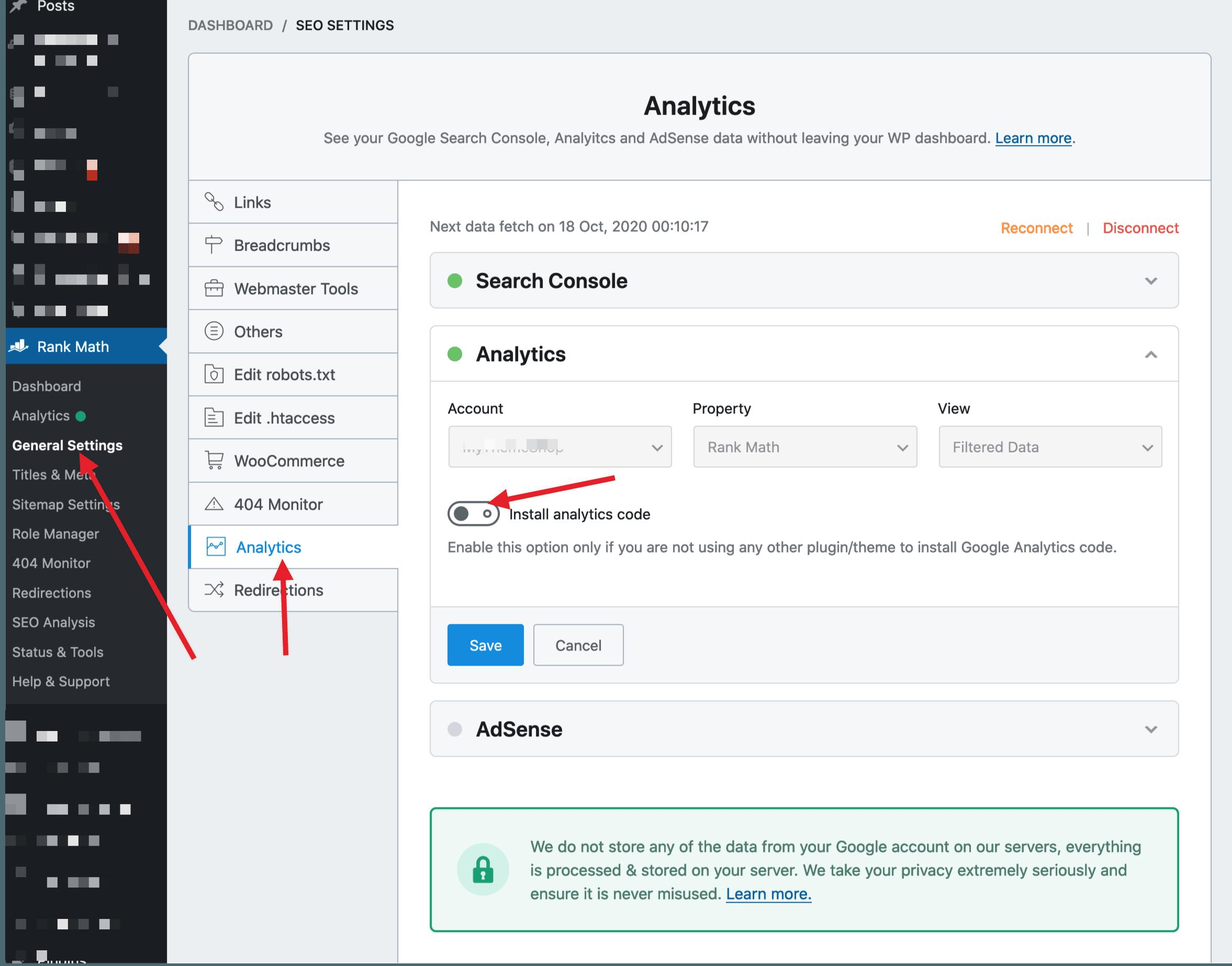 remove analytics code from rank math