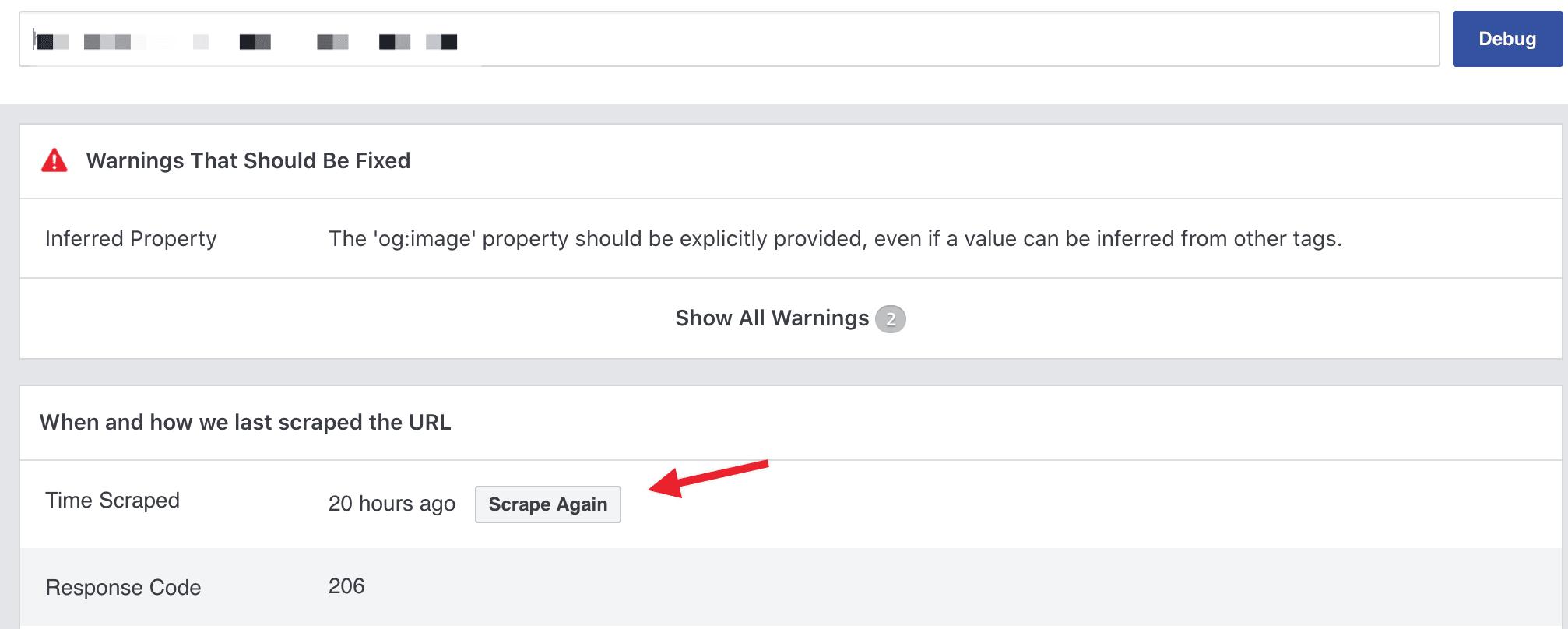scarpe again facebook debug tool
