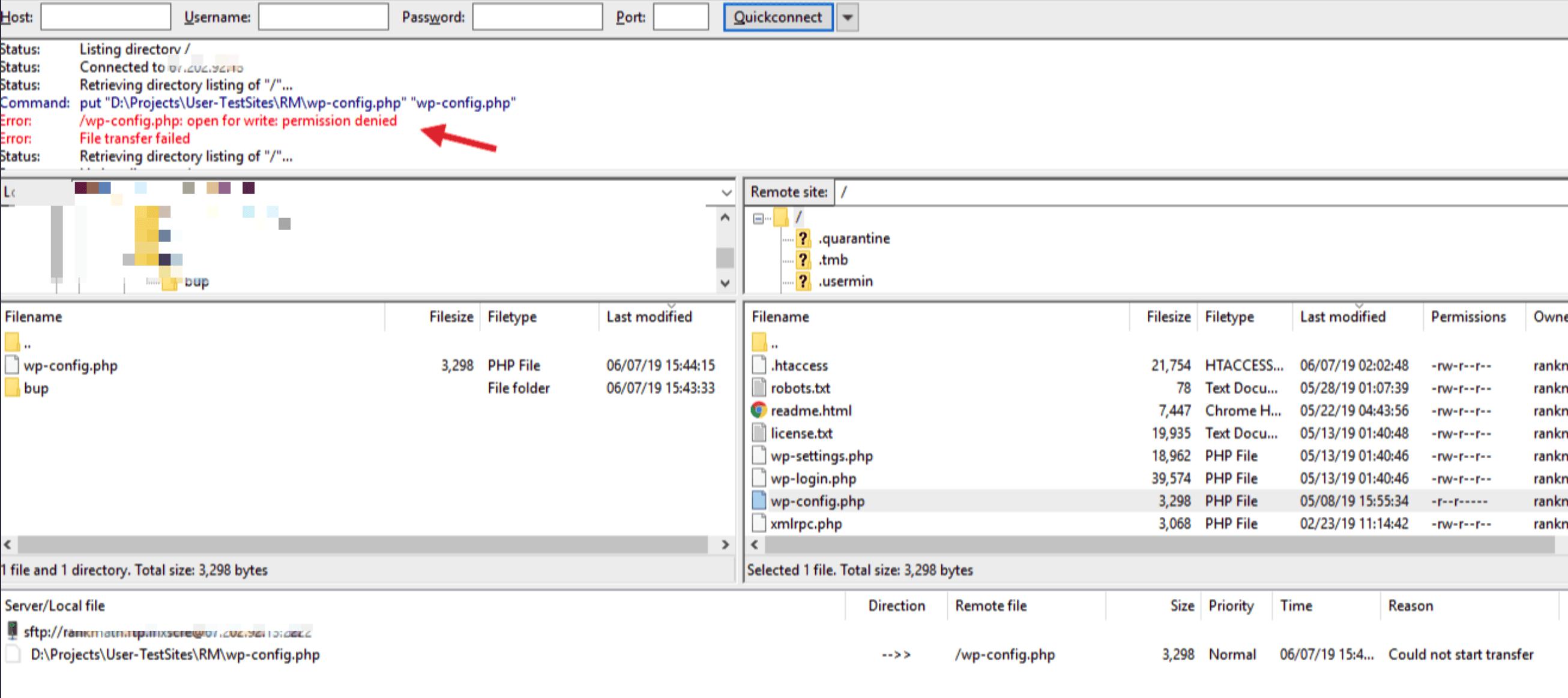 FTP write permissions